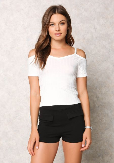 Ivory Ribbed Knit Cold Shoulder Top