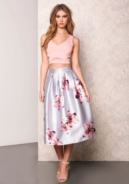Silver Floral Ruched Flared Skirt