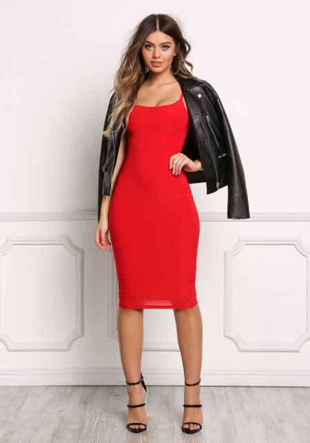 Red Minimalist Bodycon Tank Dress
