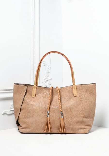 Taupe Textured Leatherette Tote Bag with Pouch
