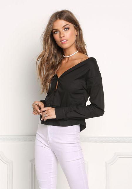 Black Bardot Button Up Blouse