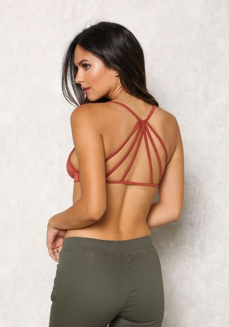 Brick Jersey Knit Caged Bralette