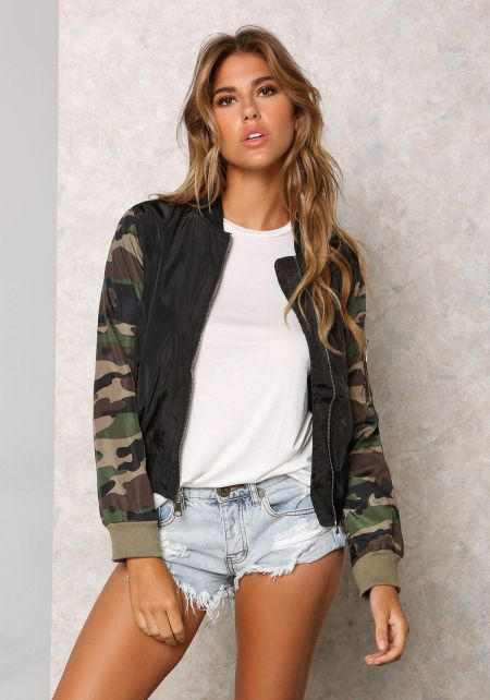 Black Camo Sleeve Windbreaker Bomber Jacket