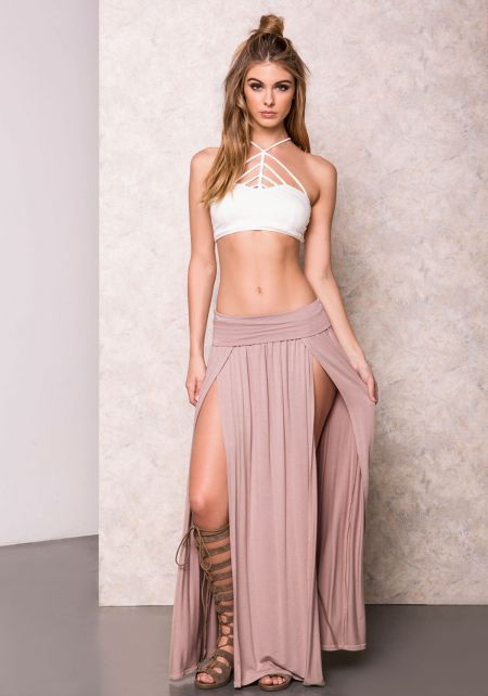 Mocha High Slit Jersey Maxi Skirt