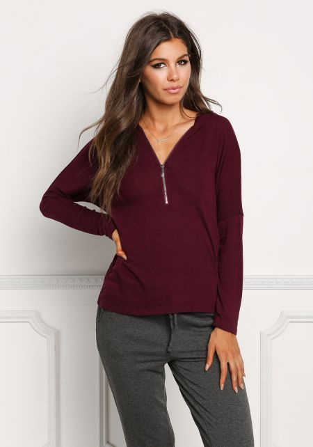 Plum Zipper Hooded Light Sweater