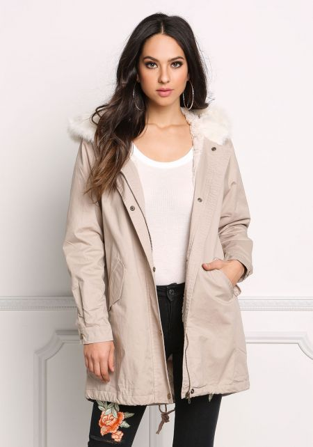 Khaki Hooded Faux Fur Interior Utility Jacket