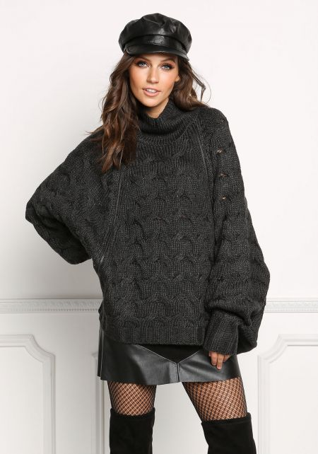 Charcoal Over Sized Cable Knit Zipper Sweater Top