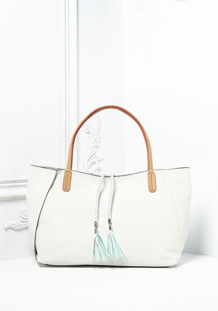 White Textured Leatherette Tote Bag with Pouch