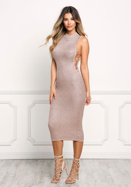 Rose Gold Metallic Knit Chain Lace Up Dress
