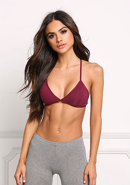Wine Jersey Knit Cross Strap Bralette