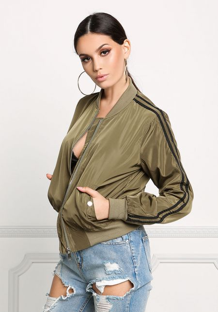 Olive Striped Bomber Jacket