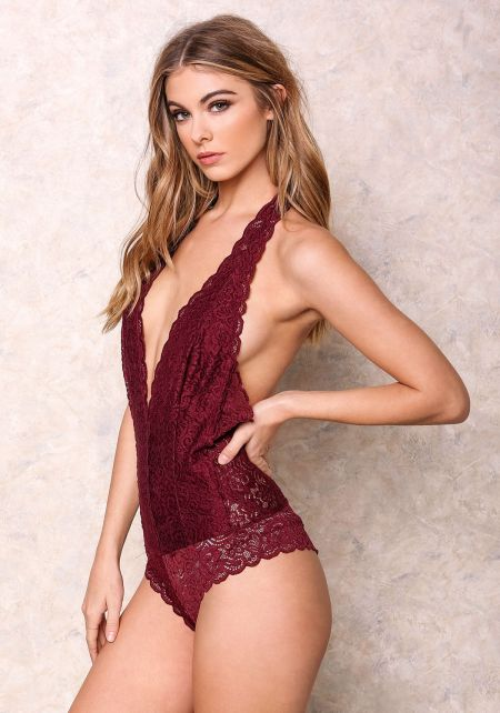 Wine Lace Halter Bodysuit