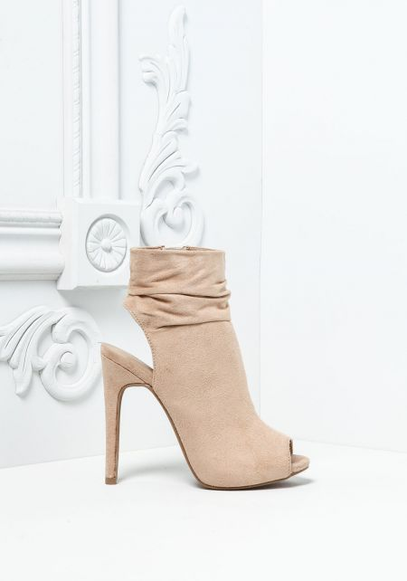 Natural Ruched Suedette Peep Toe Booties