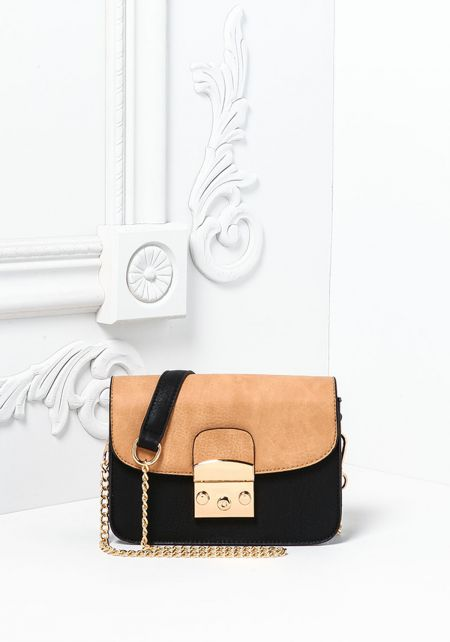 Tan Leatherette Button Snap Crossbody Bag