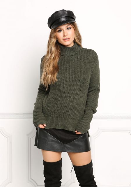 Olive Turtleneck Sweater Top