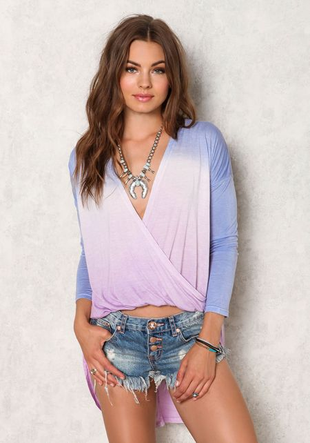 Lavender Jersey Knit Ombre Hi-Lo Top