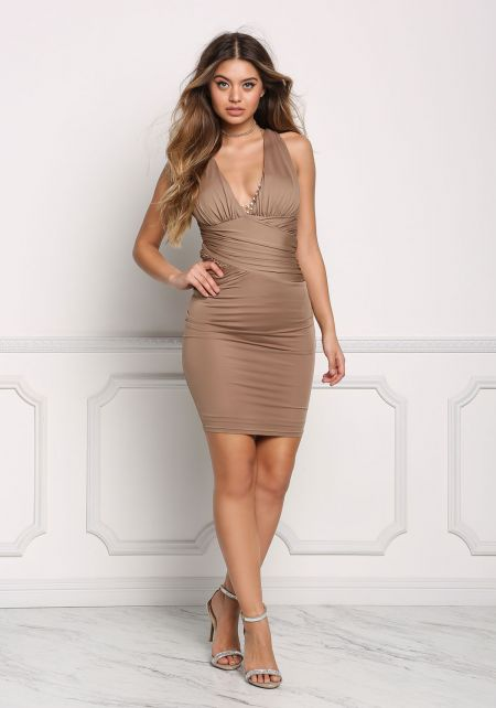 Mocha Plunge Cross Back Ruched Bodycon Dress