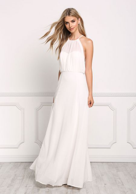 Cream Chiffon Draped Maxi Dress