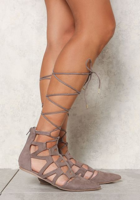 Taupe Suedette Cut Out Lace Up Flats