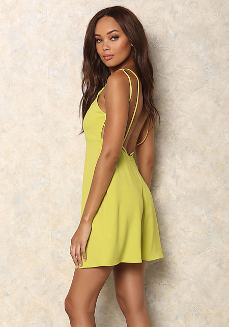 Lime Strappy Fit and Flare Dress