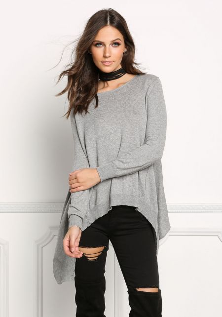 Heather Grey Pointed Pullover Sweater Top