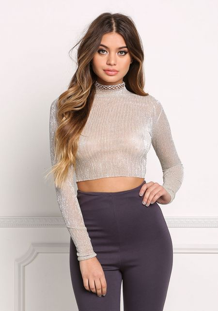 Gold Pleated Sheer Crop Top