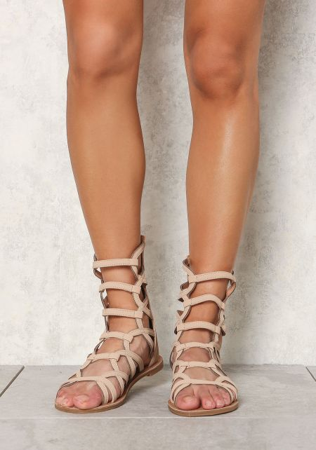Taupe Leatherette Cut Out Gladiator Sandals