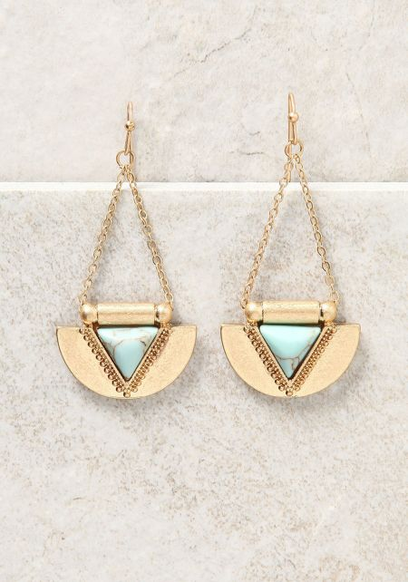 Gold Curved Triangle Chandelier Earrings