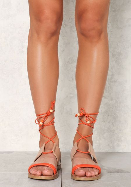 Orange Two Tone Leatherette Lace Up Sandals