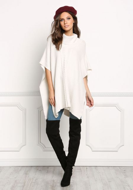 Ivory Turtleneck Ribbed Knit Poncho Top