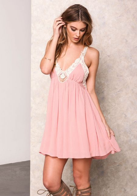 Dusty Pink Gauze Crochet Plunge Dress