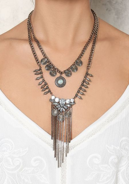Gold Layered Coin & Rhinestone Necklace