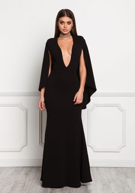 Black Cape Plunge Sparkle Maxi Gown