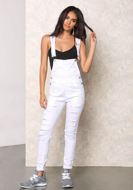 White Shredded Denim Overalls