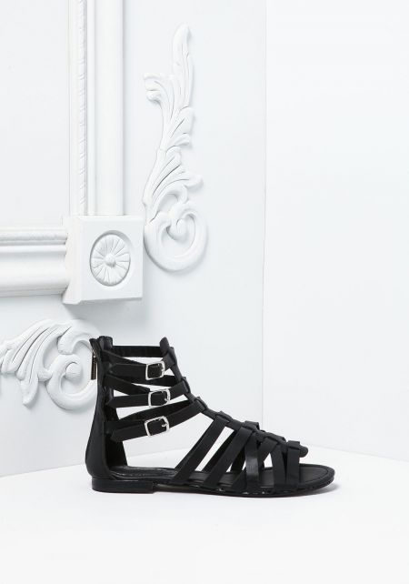 Black Leatherette Cross Strap Gladiator Sandals