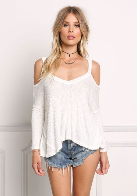 Ivory Clingy Ribbed Knit Cold Shoulder Top