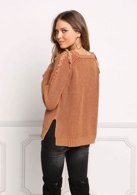 Rust Shoulder Lace Up Thick Sweater Top