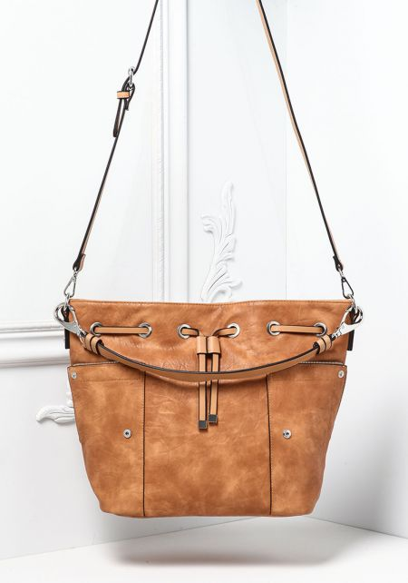 Tan Leatherette Drawstring Zipper Trim Tote Bag