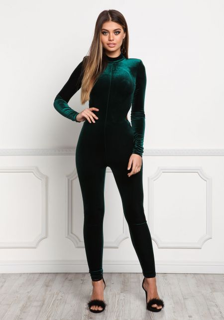 Hunter Green Open Black Velvet Jumpsuit