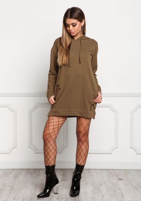 Olive Distressed Hooded Pocket Dress