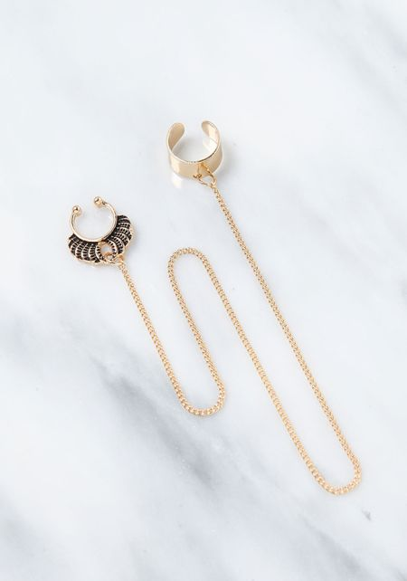 Gold Cuff Chain Engraved Nose Ring