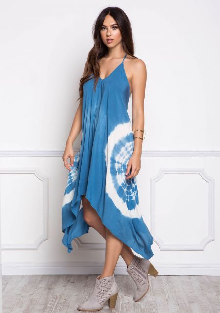 Blue Marble Tie Dye Cross Strap Midi Dress