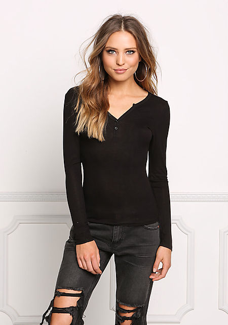 Black Thin Ribbed Knit Buttoned Top