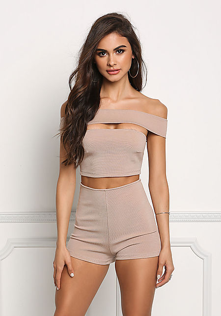 Taupe Bandage Bardot Cut Out Romper