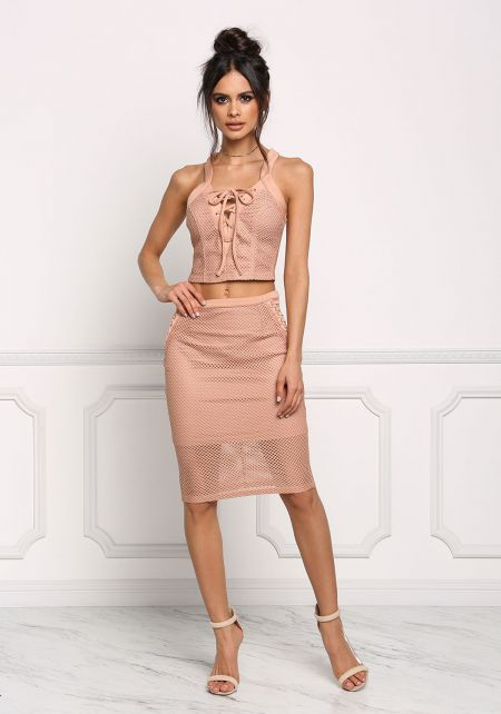 Blush Mesh Net High Rise Skirt
