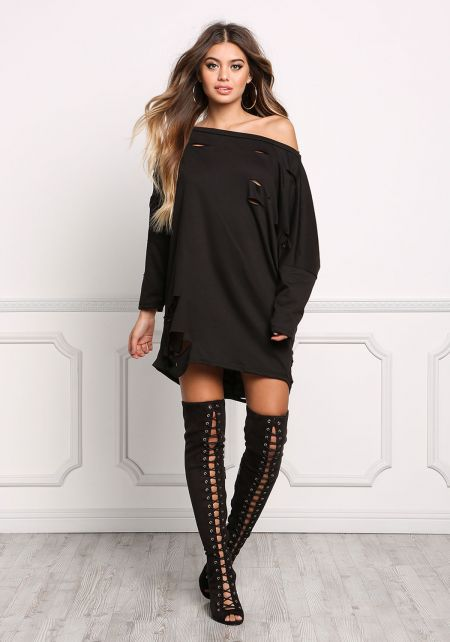 Black Distressed Tunic Sweater Top