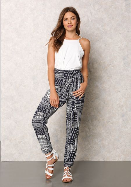 Navy Tribal Print Tie Front Pants