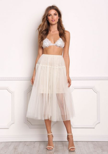 Cream Tulle High Rise A-Line Skirt
