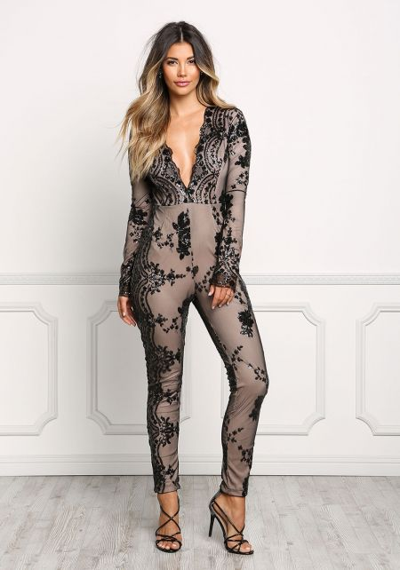 Black Plunge Sequin Sheer Jumpsuit