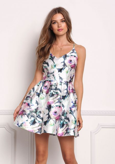 Multi Taffeta Floral Cross Strap Flared Dress